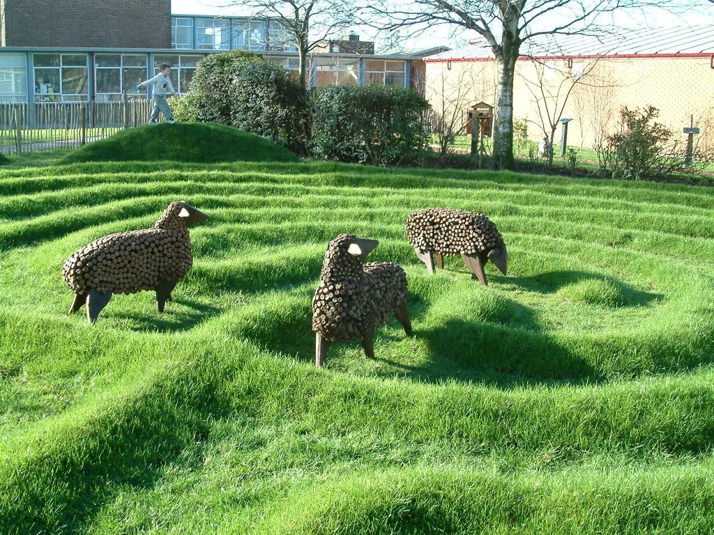 Sheep created from reclaimed wood in labrynth